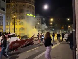 A clash between a group of young people and police in the eastern Swiss city of St. Gallen