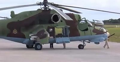 Mozambique Air Force Mi-24 helicopters